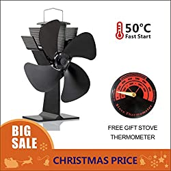 Wood Stove Fan and Free Stove Thermometer,Blows Heat Up to 300 f/m- No Electronic Required -+ 50°c Start Silent 4-Blade Heat Powered Stove Fan for Log Burner (Black)