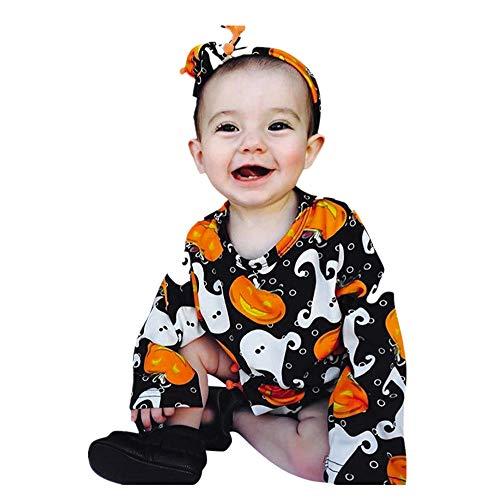 SEWORLD Baby Halloween Kleidung,Niedlich Neugeborenes Baby Mädchen Kürbis Strampler + Stirnband Halloween Kleidung Outfit 24 Monate