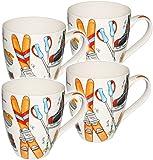 alles-meine.de GmbH 2 Stück _ Kaffeetassen / Henkeltassen - 500 ml -  Wintersport - Ski & Schlittschuhe & Curling  - groß - Jumbotasse - Keramik / Porzellan - Teetasse - Mikrow..