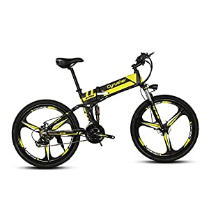 Cyrusher XF700- Noir Jaune- Vélo électrique pliante- Bicyclette de montagne -26 pouces- Installation antichoc supérieure-Moteur à haute puissance 250W*36V -Vitesse de 30 à 40 km/h avec interrupteur antidérapant de frein mécanique et Vélo intelligent de