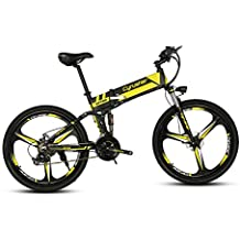 Bicicleta eléctrica plegable Cyrusher XF700, de montaña, 43 x 66cm, suspensión total 250 W 36 V, 21 velocidades con freno de disco mecánico y antideslizante de apagado y ordenador de bicicleta inteligente