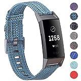 KIMILAR Fitbit Charge 3 Armband Stoff, Schnellspanner Nylon Ersatzband Armbänder mit Edelstahl Handgelenk Verschluss für Fitbit Charge 3 & SE Fitness Tracker (Cerulean)