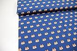 Stoff / Meterware / ab 25cm / beste Jersey-Qualität / Jersey Füchse orange auf blau