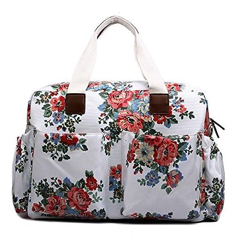 Miss Lulu 4 Piece Flower Dot Baby Nappy Changing Bag Set White L1501FWE