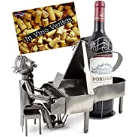 BRUBAKER portabottiglie di vino pianoforte giocatore metallo scultura con biglietto regalo