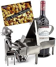 BRUBAKER portavino portabottiglie dal design 'pianista' con biglietto d'auguri - scultura in metallo