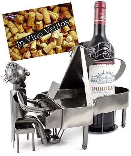 enhalter Pianist Klavierspieler Metall Skulptur mit Geschenkkarte ()