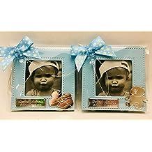 Marcos fotos para invitados bautizo niño GRABADOS PERSONALIZADOS pequeños bebe (pack 12 unidades) portafotos