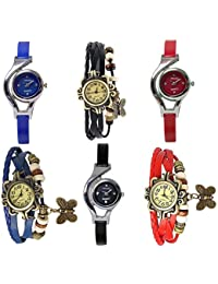Freny Exim Luxurious Set Of 6 Antique Soft Leather Blue Black And Red Dori Bracelet With Sophisticated Blue Black...