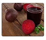 MSD Natural Rubber Gaming Mousepad IMAGE ID: 32492001 Glass of fresh beet juice and vegetables on wooden background