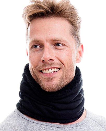 Hilltop Warmer Schal, doppellagig mit Teddy Fleece & Kordelzug Wendemütze oder Sparset mit Schal & Wendebeanie. Einzeln oder als Set kaufbar, Farbe/Design:Halstuch in schwarz uni -