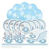 Komplettes Babyparty-Set, Design: Elefant mit Schirm, blau