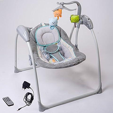 Elektrische Babyschaukel Automatische Baby Wiege Wippe LILOU 2 ( Fernbedienung, MP3-Player via USB, Netzadapter)