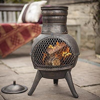 La Hacienda Squat Bronze effect Cast Iron/Steel Mix Chiminea Patio Heater