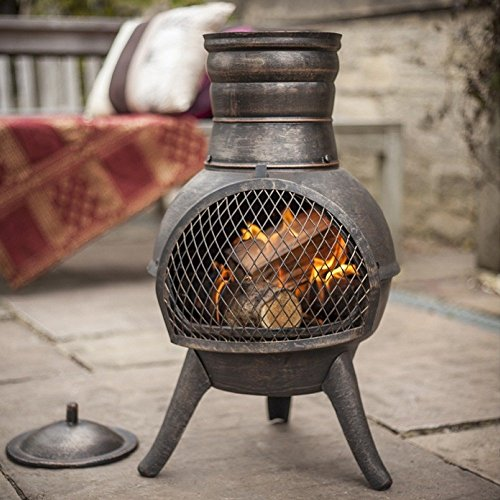 La Hacienda Squat Bronze effect Cast Iron/Steel Mix Chiminea Patio Heater