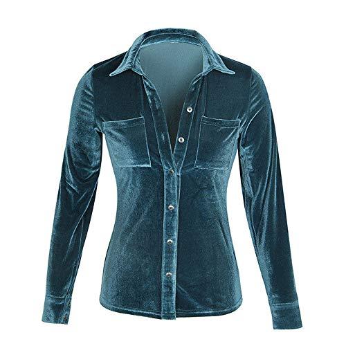 BHYDRY Frauen Solid Samt Turn-Down Kragen Langarm T-Shirt Tops Bluse (S, Blau)