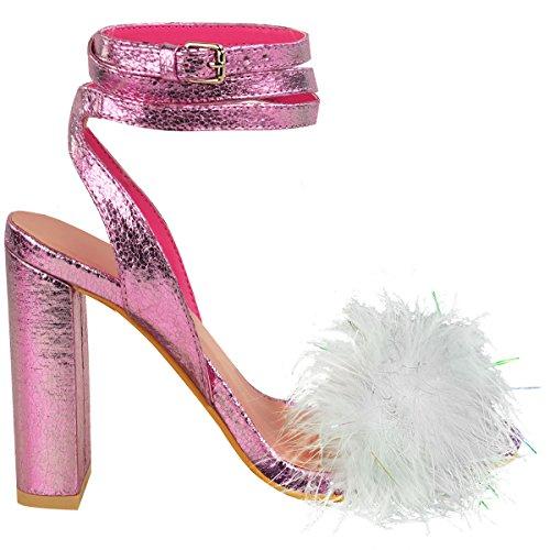 Nuovo Da Donna Soffice Pelo Pom Pom Tacco Alto Da Festa Sandali Con Bretelline Celebrità Misura Rosa Metallizzato Pieghe