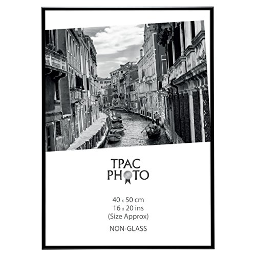 Paaf4050bblk certificat de luxe en aluminium satiné Noir Poster photo écran Cadre photo 16 x 20 (40 x 50 cm) avec une 9 mm de large Surround et non avant en verre