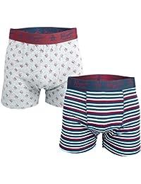 Original Penguin Mens Striped 2 Pack Boxer Shorts Grey Blue- 1 Striped 1 Pattern