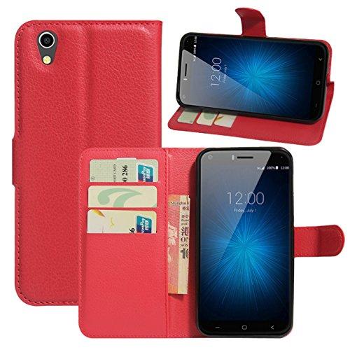 HualuBro UMIDIGI London Hülle, [All Aro& Schutz] Premium PU Leder Leather Wallet Handy Tasche Schutzhülle Case Flip Cover mit Karten Slot für UMIDIGI London 5.0 Inch 3G Smartphone (Rot)