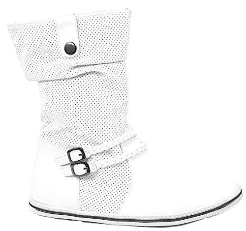 Herbst/Winter Damen Schlup Stiefel High Top Stiefel Flach Boots Sport Freizeit Schuhe 37-42 Weiß