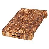 Cutting Board No. 601 von ProTeak/großes Hackbrett/Hackklotz / Schneidebrett/Schneidbrett / Hirnholzbrett/Stirnholzbrett aus Teakholz/Teak / 50,8x35,5x6,3cm