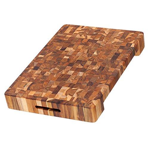 Cutting Board No. 601 von ProTeak / großes Hackbrett / Hackklotz / Schneidebrett / Schneidbrett / Hirnholzbrett / Stirnholzbrett aus Teakholz / Teak / 50,8x35,5x6,3cm