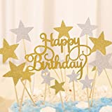 Decoraciones para tarta con las palabras'Happy Birthday' ypalillos con estrellas doradas y plateadas, 41 unidades con purpurina, de Winko