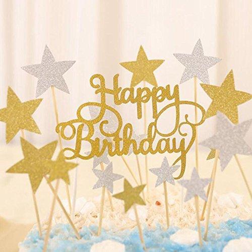 """Descripción:Este juego de palillos de purpurina para decorar tartas viene con 20 estrellas grandes, 20 estrellas pequeñas y letras con la palabra """"happy birthday"""". Son perfectos para la decoración de tartas de cumpleaños.Material:espuma.Diámetro de l..."""