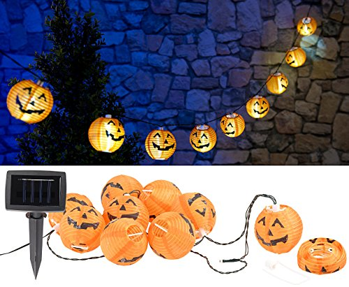 Lunartec Halloween-Dekoration: Solar-Lichterkette mit 10 LED-Lampions im Halloween-Kürbis-Look, IP44 (Garten-Lichterkette LED)