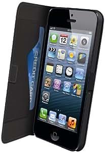 Muvit MUSLI0086 Etui à clapet avec Film de Protection d'écran pour iPhone 5 Noir