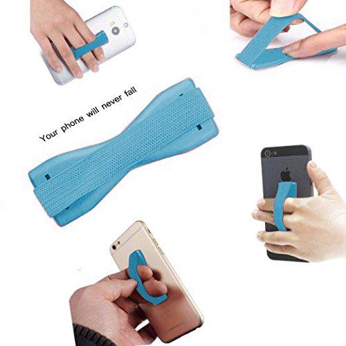 Fone-Case Silver Samsung Galaxy S6 Étreinte Universel pour Téléphone Doigt Style avec Smart Secure Lanière Élingue et Fort Adhésif Bleu