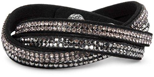 styleBREAKER weiches Strass Armband, eleganter Armschmuck mit Strassteinen, Wickelarmband, 2x2-Reihig, Damen 05040004, Farbe:Schwarz / Silber-Hellrose
