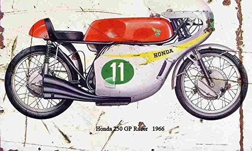 Honda 250 GP Racer 1966 Aged Vintage Sign Aluminium Print A3 -