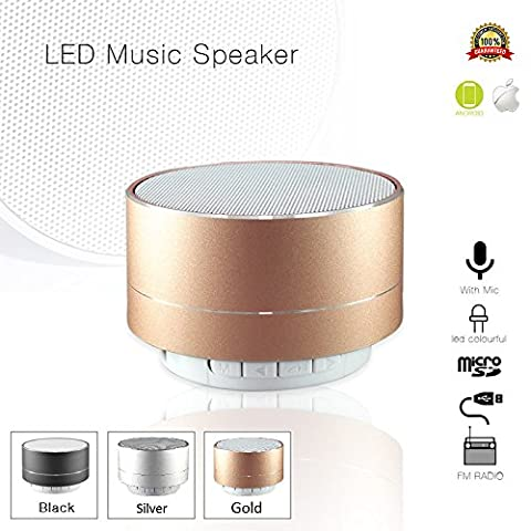 Mini Portable Bluetooth Speaker 4.0 with Light & Microphone for iPhone/iPad/iPod/Samsung Tablet Smartphone/Laptop PC Rechargeable for Outdoor/Home/Travel in Gold Metal Aluminum