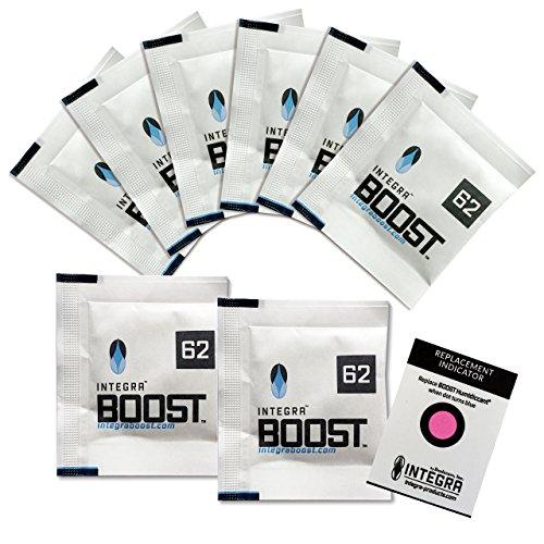 Integra Boost 62% - 8 x 8g Feuchtigkeitsregler I 2-Wege Luftbefeuchter mit Indikator Anzeige - Luftfeuchtigkeit bis 25g I Befeuchtungspäckchen