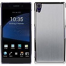 kwmobile Funda rígida de alta calidad para Sony Xperia Z2 con refuerzo de aluminio pulido en la parte trasera en plata