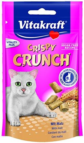 Vitakraft Katzensnacks, Knusprige Getreidekissen mit Malz, Cremige Füllung, Gegen Haarballen, Crispy Crunch, 28811, 60 g Trocken-fettarme Milch