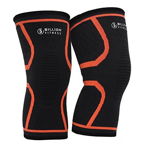 5BILLION Knie Unterstützung Knie Klammer Compression Sleeve Breathable für Schmerzlinderung, Verletzung, Laufen, Basketball, Sport (1 Paar) (Orange, L) -
