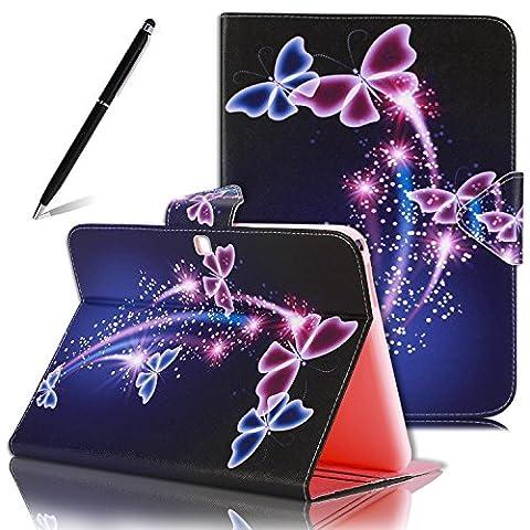 """Etui Samsung Galaxy Tab 4 10.1"""", SpiritSun Housse de Protection en Cuir Smart Case pour Samsung Galaxy Tab 4 (10.1 pouces) SM-T530 Mode Imprimé Peint Motif Design avec Fonction Stand / Auto Réveil / Veille + Stylet - Fleur et Papillon"""