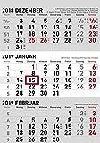 3-Monatskalender klein 2019 - Wandplaner / Bürokalender (23,7 x 45 geöffnet) - mit Datumsschieber - mit Jahresübersicht