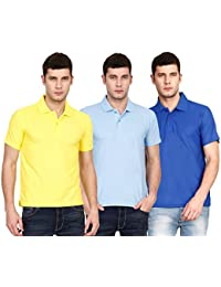 Ojass Solid Men's Polo Neck Yellow, Blue, Blue T-Shirt (Pack Of 3)