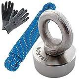 HUNTER Neodym Topfmagnet mit Öse, N52 Haftkraft 80 kg ⌀ 40 mm, perfekt zum Magentfischen Ösenmagnet Bergungsmagnet Supermagnet Suchmagnet für Schatzsuche, inklusive Seil (25 m) und Schutzhandschuhe
