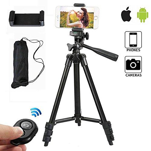 Handy Stativ 102cm Aluminium Kamera Stativ mit Handy Halterung und Bluetooth Fernbedienung Handy Stativ für Kamera iPhone und Samsung