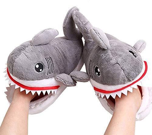 (SLIPPERS Winter Baumwolle Pantoffeln Plüsch Wärme Weiche Hausschuhe mit Hai Cartoon Leicht Rutschfeste Herren Damen Size 36/42,A,EU36/42)