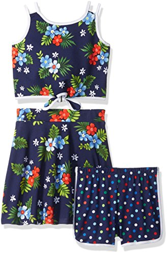 Youngland Little Girls' 3 Pc Set Front Tie Top, Knit Shorts and Floral Skirt, Navy/Multi, 6 (Navy Knit Skirt)