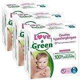Love & Green - Couches Bébé Hypoallergéniques 0% -  Taille 5 (11-25 kg) - Lot de 3...