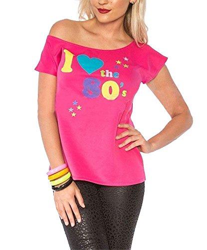 Damen I Love The 80er Jahre T-shirt Outfit Damen Pop Star Top Kostüm - Rosa, 38-40