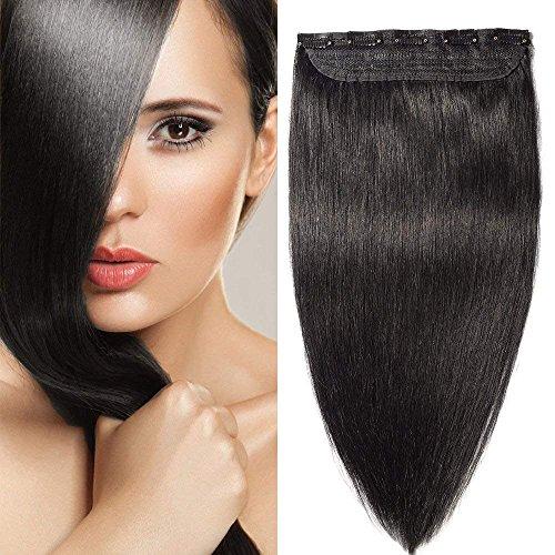 Extension clip capelli veri remy human hair #1b nero naturale - fascia unica 5 clips larga 23cm lunga 45cm 100% capelli naturali lisci 90g