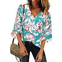Camisa Suelta con Estampado Floral de Mujer Cuello en V 3/4 Manga Larga de Malla Camisetas Blusas Casuales Tops Largos Boho Flores